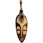 Sajen sterling silver African mud stone mask gemstone pendant