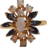 14K Gold sapphire opal ring