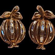 Trifari rhinestone baguette forbidden fruit apple clip earrings