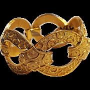Trifari heavily embossed link bracelet