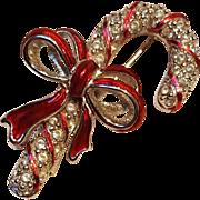 Swarovski candy cane pin red enamel bow
