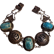 Egyptian silver faience scarab bracelet