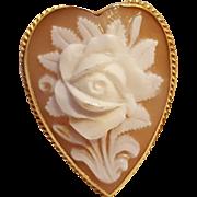 14K Gold Cameo rose heart shape pin pendant