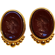 Ben Amun clip earrings carnelian glass intaglio