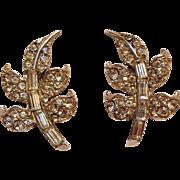 Pell rhinestone leaf clip earrings