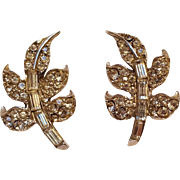 Pell rhinestone leaf clip earrings