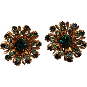 Green rhinestone starburst clip earrings