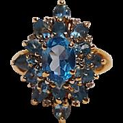 10 Gold blue topaz cocktail ring