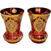 Pair Bohemian glass vases cranberry enamel flowers gilt