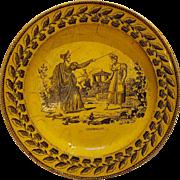 Early 19th Century Cinderella plate canary ware Cendrillon