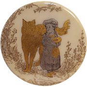Porcelain button Red Riding Hood wolf silver gilt