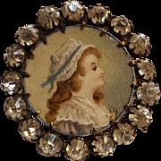 Antique button profile portrait under glass rhinestone