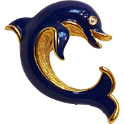 Trifari dolphin pin blue enamel