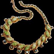 Givre glass cabochon ab rhinestone necklace green