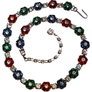 Trifari rhinestone flower necklace red blue green