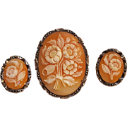 Floral cameo pin earrings set 800 silver