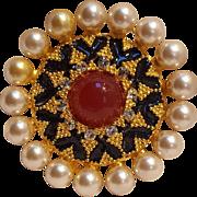 Craft pin simulated carnelian pearl enamel rhinestone