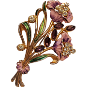 Pot metal flower pin rhinestone cold painted enamel