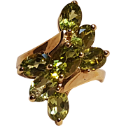 10K Gold peridot cocktail ring DV