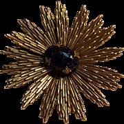 Sandor starburst pin lapis blue glass cabochon