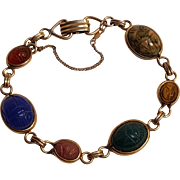 Scarab carved gemstone bracelet gold filled
