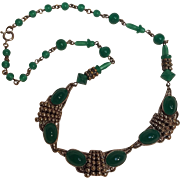 Czechoslovakia green glass cabochon and bead necklace