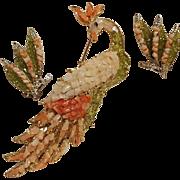 Hawaiian diamond olivine bird of paradise pin earrings set