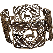 900 Silver filigree Peru bracelet Llama
