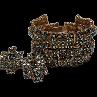 Wide rhinestone track bracelet earrings set aurora borealis