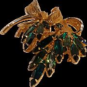 Napier green rhinestone pin thin navettes