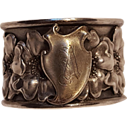 Unger Brothers sterling silver napkin ring wild rose blossoms