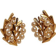 Trifari simulated pearl clip earrings