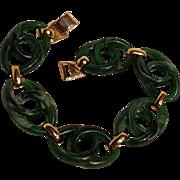 Napier bracelet marbled green resin plaques 1976