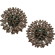 Emmons green rhinestone clip earrings