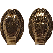 Whiting Davis snake head clip earrings
