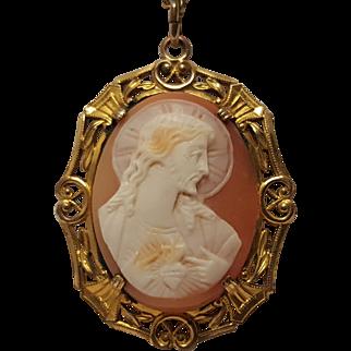 Cameo Jesus sacred heart pendant necklace