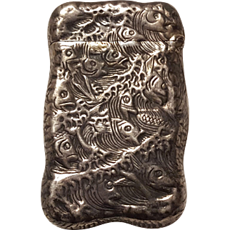 Sterling silver fish match safe vesta