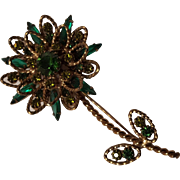 Rhinestone flower pin green navettes