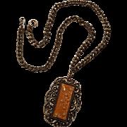 Lucite confetti pendant golden glitter simulated pearl