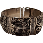 Whiting Davis panel bracelet stamped repousse