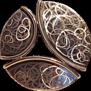 Lunt sterling silver pin pendant Modern design circles hologram