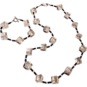 Rock crystal cube bead necklace bracelet set Modern design