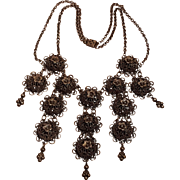 Bib necklace domed filigree plaques drops