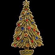 Signed Art Christmas tree pin rhinestone enamel