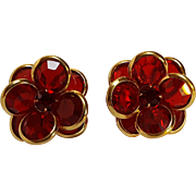 Signed Swarovski red crystal clip earrings bezel set