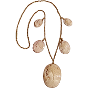 14K gold pink shell  cameo necklace five cameo drop pendants