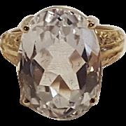 10K Gold rock crystal ring oval cut MEI