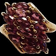 10K 10 Karat gold amethyst stone cluster ring