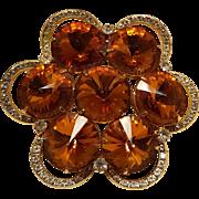 Tangerine rivoli crystal rhinestone pin brooch gold tone