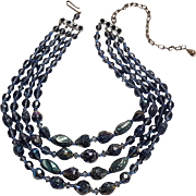 West Germany glass bead necklace blue iridescent